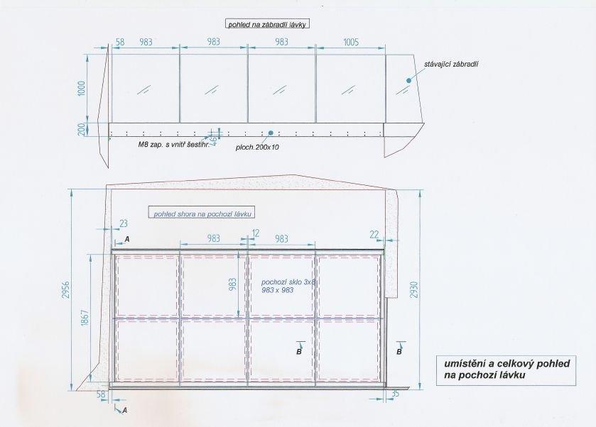 výrobní výkres lávky - celkový pohled